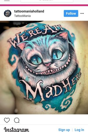 Finally got the #cheshirecat on my shoulder! Super grateful to Gerrit from Tattoomania in Apeldoorn in the Netherlands! #awesome #aliceinwonderland #we'reallmadhere