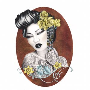 JAPANESE TATTOO GIRL #myownwork #tattooGirl #flowers #JapaneseTattoos #drawing #japanesegirl #metellic #blackandwhite #pencildrawing