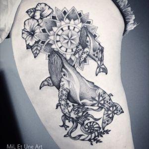 Whales and mandala tattoo by MiL Et Une #miletune #dotwork #mandala #whaletattoo #oceantattoo #sacredgeometry #hippie #australia #adelaide #blackwork