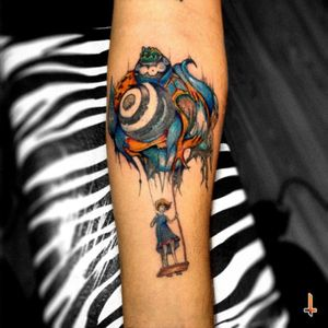 "Nº117 ""The Intrepid Seed"" (2nd Session & done) Art by: @esao #esaoandrews #tattoo #ink #eternalink #cheyenne #girl #swing #seed #balloon #art #fromoiltoskin #intrepid #circasurvive #psychedelic #surrealism #bylazlodasilva"