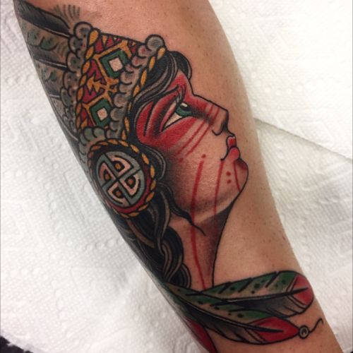 Native American baby lady. Done at #capturedtattoo For all appointments email: Beau@capturedtattoo.com