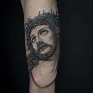 Ecce homo,  Jesus head #jesustattoo #religioustattoo #blackandgreytattoos #newyorkadorned