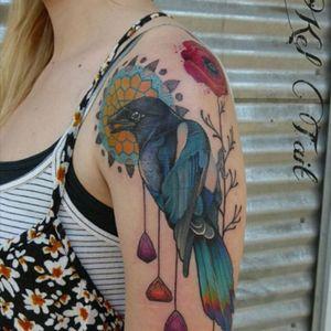 #keltaittattoo #bird #girltattoo #magpie #poppy  #poppies @keltaittattoo #megandreamtattoo
