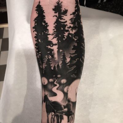 Magical night for Dennis! Thanks man! #horse #trees #forest #tattoo #tattoodoambassador