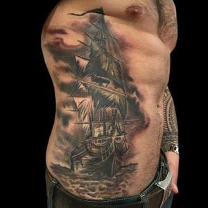 Tattoo by Lark Tattoo artist PeeWee. See more of PeeWee's work here: http://www.larktattoo.com/long-island-team-homepage/peewee/ #ocean #oceantattoo #ship #shiptattoo #boat #boattattoo #pirate #piratetattoo #pirateship #pirateshiptattoo #bng #bngtattoo #blackandgraytattoo #blackandgreytattoo #tattoo #tattoos #tat #tats #tatts #tatted #tattedup #tattoist #tattooed #inked #inkedup #ink #tattoooftheday #amazingink #bodyart #tattooig #tattoosofinstagram #instatats#larktattoo #larktattoos #larktattoowestbury #westbury #longisland #NY #NewYork #usa #art #peewee #peeweetattoo #ribtattoo