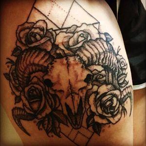 #dotworktattoo #ramskull #roses my amazing healed tattoo!