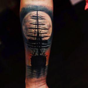 #richiebon #ship #moon #sunset #water