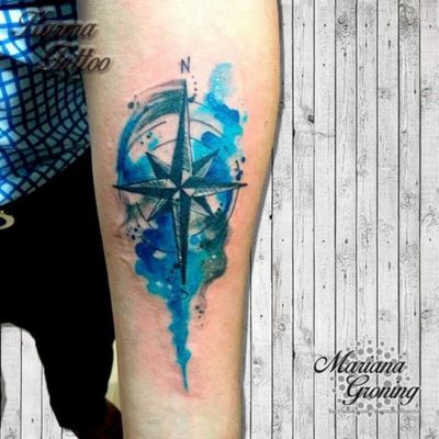 Watercolor compass tattoo, tatuaje de rosa de los vientos con acuarela #tattoo #tatuaje #cdmx #mexico #karmatattoomx #marianagroning #watercolor #acuarela #watercolortattoo #tatuajeacuarela #rosadelosvientos #brujula #compass #amazing #madeinmexico