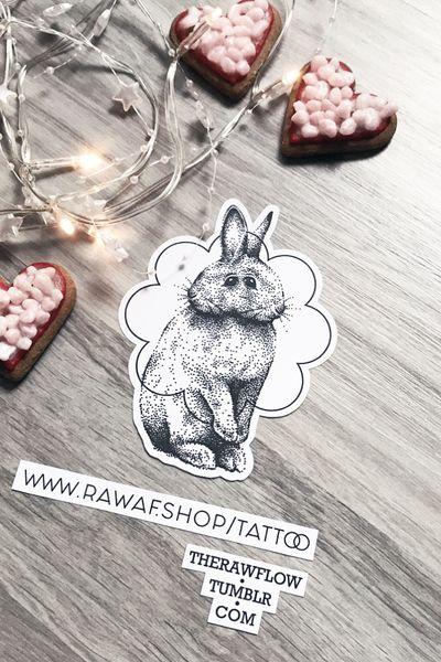 Surreal rabbit tattoo design, download: www.rawaf.shop/tattoo #tattoo #dotwork #rabbit #bunny #cute #abstract #surreal #animal #dotworktattoo #rabbittattoo #bunnytattoo #animaltattoo #blackwork
