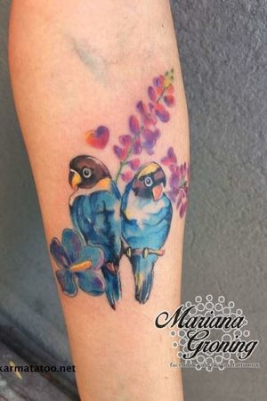 Watercolor birds tattoo #tattoooftheday #watercolortattoo