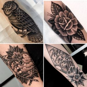Work from our guest artist Jon Aubrey who fequents the store. #blackwork #americana #bombshelltattoo #traditional