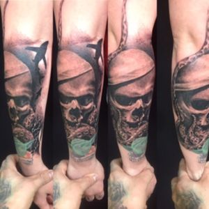 Tattoo i had fun with #skulltattoo #sharktattoo #armtattoo #octopustattoo #tenticle #inked #greywashtattoo #realism #fusionink #criticaltattooequipment #kingpintattoosupply #ttechneedles #tattoo