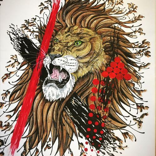 """Rage"" #abtractpainting #watercolorart #trashpolka #lion #staugustinetattooartist"