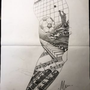 Arm sleeve tattoo in black & grey. #Realistic #Black #Grey #Tattoo #Arm #Sleeve #Tiger #Dog #Animal #Football #Sport #Music #Piano #Guitar