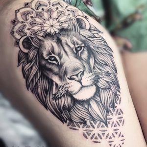 #lion #liontattoo #mandala #mandalatattoo #dotwork #tattoodo #inkedgirls #blackink #blackandgrey #animaltattoo #hippie #australia #adelaide