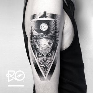 By RO. Robert Pavez • My Home • Studio Nice Tattoo • Stockholm - Sweden 2018 • #engraving #dotwork #etching #dot #linework #geometric #ro #blackwork #blackworktattoo #blackandgrey #black #tattoo #fineline #owltattoo