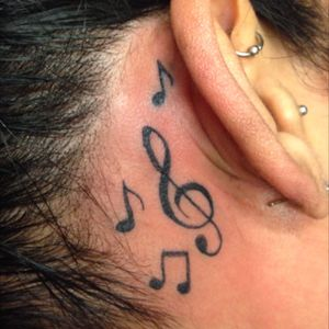Behind the ear music notes