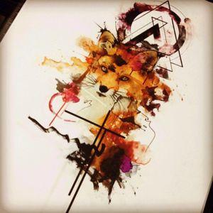 Inksperarion #fox #design #tattooinkspiration #inkspiration #geometrictattoo #watercoloursplash #pretty #beautiful