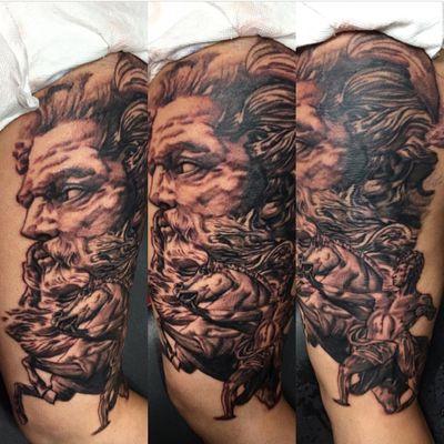 #blackandgrey #realism #poseidon #tattooartist #newyork
