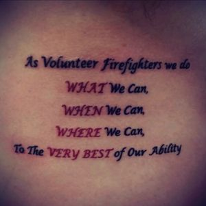 Dedicated to Volunteer Fire Fighting #firefighter #ribpiece #redandblack #verse #volunteer