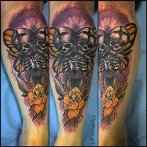 Double headed skeleton to represent gemini and butterfly wings in irange to represent my MS and my Mums Leukemia. Done in ine sitting by Christopher J Brophy (via IG artbycheisbrophy) and Black Rabbit Tattoo in Altoona, IA. #geminitattoo #skull #butterfly #skelton #multiplesclerosisawareness #leukemia #ChristipherJBrophy #BlackRabbitTattoo