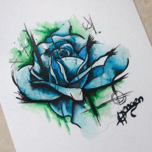 Watercolor rose flash drawing #Watercolor #Rosr #Flower #Blue #Sketch #Flash #Drawing #Moko #Tattoostudio #Vorlage #Blau #Merzig