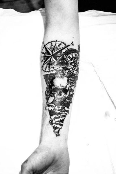#compasstattoo #compass #skull #skulltattoo #rosestattoo #roses #phrases #triangletattoo #triangle #triangles #oldwatch #eyetattoo #illumunatieye #pyramidtattoo #pyramid #linestattoo #lines #rockandroll #rock #upperarm #upperarmtattoo