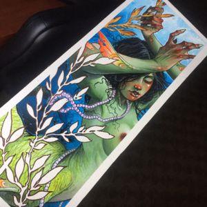 Mermaid painting. Prints available on jamestex.bigcartel.com
