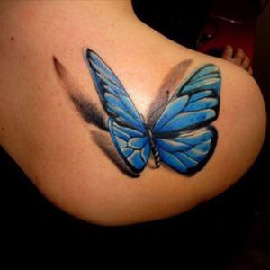 Best 3D butterfly ive seen #3D #butterfly #blue #fly #shouldertattoo