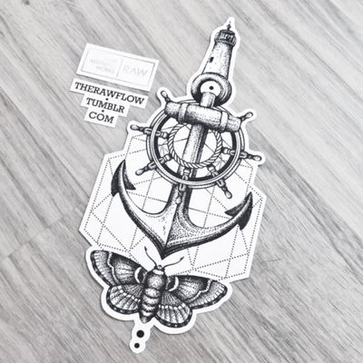 Wanderlust tattoo with all the things that leads you back home! #anchor #lighthouse #shipwheel #moth #travel #wanderlust #anchortattoo #lighthousetattoo #mothtattoo #shipwheeltattoo #traveltattoo #wanderlusttattoo