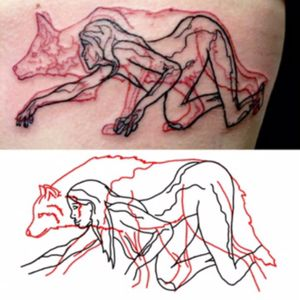 Put pen to paper and redesigned a #PabloPuentes #overlaytattoo. It's obviously not as perfect but as a #biology person, I wanted an #anatomicallycorrect #wolf. #red #black #animal #wildlife #spiritanimal #nude #woman #crawling #stalking #design #inspired