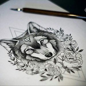 #megandreamtattoo #wolf #roses #geometry #excited #calf #blackandgrey