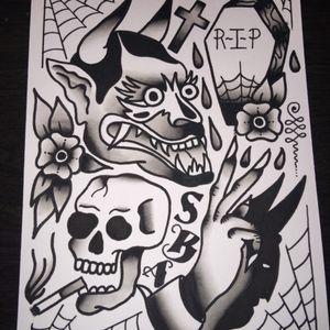 Devilish days flash ☠                                            scumbagaiden.bigcartel.com #flash #black #traditional