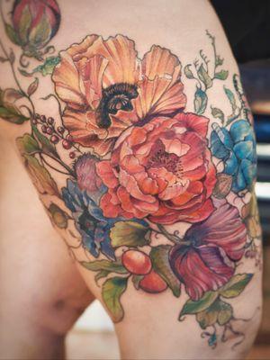 Poppy peony vintage floral leg tattoo