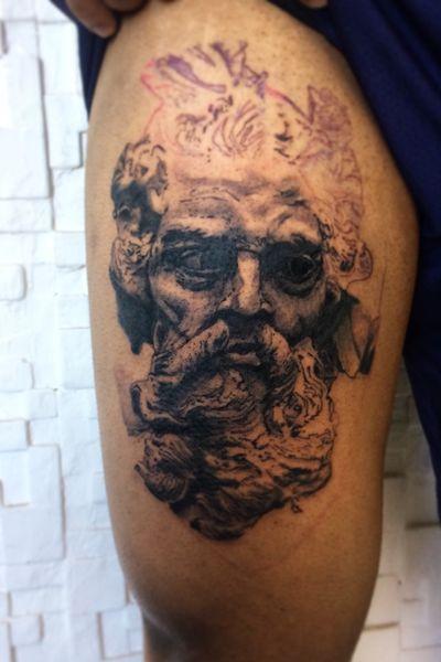Work in progress #poseidon #greekmythology #greekgod #tattooartist #bnginksociety #blackandgreytattoo