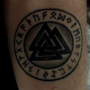 Odins valknut in a runestone, I praise my heathen herritage