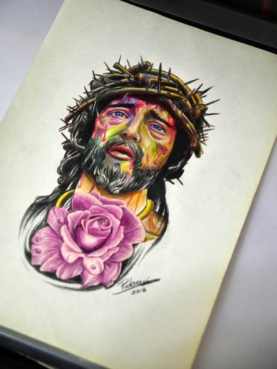 #tattoosketch #jesus #colorpencil #gardenofstone #sketchbook
