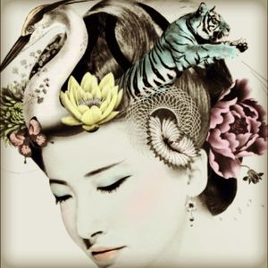 This would make a great tattoo! Its the logo for opium, an awesome bar in london! #oriental #tiger #flowers #swan #woman #blackandgrey #color #colour #chinese #japanese #opium