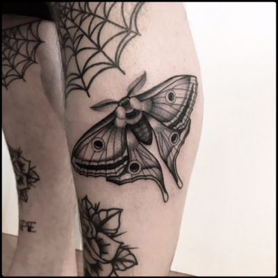 #black #moth #butterfly #tattoo #blackwork #totemica #ontheroad