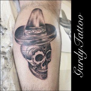 #tattoo #lowerlegtattoo #mexicanskull #sombrero #ink #Tattoodo #realism #realistic
