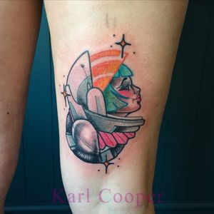 ✨🚀✨ By Karl Cooper #oldschool #traditional #neotraditional #space #scifi #colour #tattoooftheday #girl