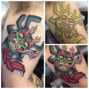 Aku feom #samurijack superfun #tats #tattoos #tattoo #art #ink #guyswithink #girlswithink #plugs #beard #phucstyxtattoosupply #steelfangstattoosupply #pridetattooneedles #electrumstencilprimer #electrum #workingclassmetals #teammedieval #teamelectrum #griffinguild