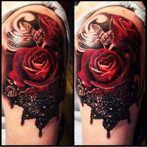 #LeanneFate #roses #redrose #flower #lace #shouldertattoo