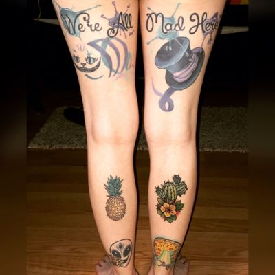 Slowly but surely.. (can i skip the knee ditches? Im really dreading those) #aliceinwonderland #pineapple #cactus #alien #pizza #abduction #girlswithtattoos