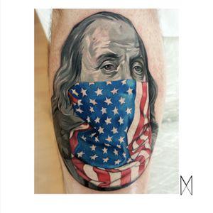 🇺🇸 #EnuaMahuta #tattoocolor #nytattoo #brooklyntattoo #benjaminfranklin #usaflag #portrait