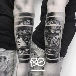 By RO. Robert Pavez • Janus • Studio Nice Tattoo • Stockholm - Sweden 2017 • #engraving #dotwork #etching #dot #linework #geometric #ro #blackwork #blackworktattoo #blackandgrey #black #tattoo