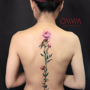 #olivia#flowers#spinetattoo
