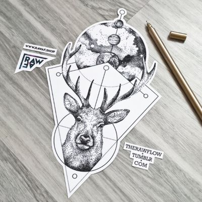 Dotwork deer with universe, available on www.rawaf.shop #deer #stag #galaxy #astronomy #space #planet #dotwork #deertattoo #stagtattoo #galaxytattoo #astronomytattoo #spacetattoo #dotworktattoo #planettattoo #geometrictattoo
