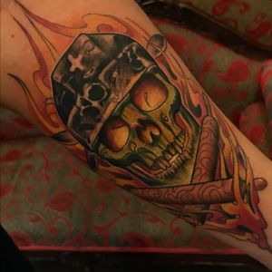 #skull #helmet #wood #fire #colortattoo tattoo by #jeantattooart @jeantattooart #traditional