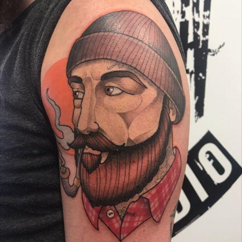 New ink #neotraditionaltattoo #neotraditional #lumberjack #smokepipe #beard #colourtattoo